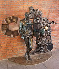Statue of Bowie in different guises in Aylesbury, Buckinghamshire, the town where he debuted Ziggy Stardust in 1972
