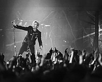Bowie performing in Dublin, Ireland in November 2003 during the A Reality Tour—his last tour following his 2006 retirement from touring.
