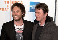 Bowie with his son Duncan Jones at the premiere of Jones's directorial debut Moon, 2009