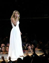 """Swift performing """"Love Story"""" on the Fearless Tour."""