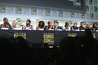 Cast of Suicide Squad at the 2016 San Diego Comic-Con. From left to right: Will Smith, Margot Robbie, Jared Leto, Viola Davis, Joel Kinnaman, Scott Eastwood, Adewale Akinnuoye-Agbaje, Jai Courtney, Jay Hernandez, Cara Delevingne, and Adam Beach