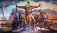 Brown in Tragic Prelude, a mural in the Kansas State Capitol. He carries in one hand a Bible and in the other a Beecher's Bible (rifle). Union and Confederate forces are fighting, with casualties. A tornado approaches in the background, as does a prairie fire, both common in Kansas.