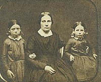 Mary Ann Brown (Day) wife of John Brown, married in 1833, with Annie (left) and Sarah (right) in 1851.