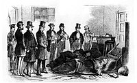 Brown has just been captured and is interrogated by Virginia Gov. Henry A. Wise and others, October 18, 1859.