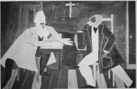 Frederick Douglass argued against John Brown's plan to attack the arsenal at Harpers Ferry, painting by Jacob Lawrence.