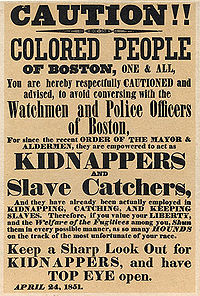"""An 1851 poster warning the """"colored people of Boston"""" about policemen acting as slave catchers"""