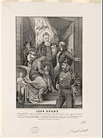 John Brown as Christ, en route to his execution, with a black mother and her mulatto child. Currier and Ives print, 1863.