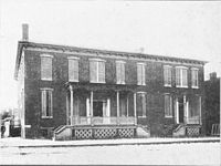 The Jefferson County Jail at Charles Town, Virginia (since 1863, West Virginia), where John Brown was imprisoned during and after his trial, since torn down and now the site of the Charles Town post office