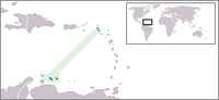 The Dutch Caribbean at both ends of the Lesser Antilles, lining the Caribbean Sea
