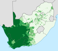 The distribution of Afrikaans across South Africa: proportion of the population speaking Afrikaans at home