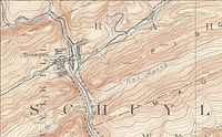 USGS Map showing Tamaqua, the confluence of the Schuylkill Rivers, showing Tamaqua Gap separating Nesquehoning Mountain to the east and Sharp Mountain across the gap to the west.