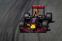 Verstappen celebrating victory at the 2016 Spanish Grand Prix, in his first race for the Red Bull Racing team