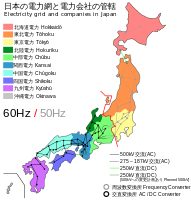 Geographic divide between 50 hertz systems and 60 hertz systems in Japan's electricity distribution network