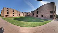 Panorama of the Indian Institute of Management Ahmedabad designed by Louis Kahn, and completed in 1961.