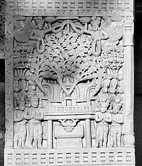 Illustration of the stupa built by Asoka at Bodh Gaya, on the location of the later Mahabodhi Temple. Sculpture of the Satavahana period at Sanchi, 1st century CE