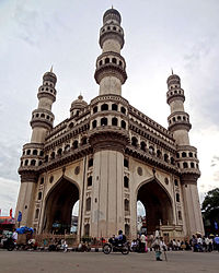The Charminar, built in the 16th century by the Golconda Sultanate.