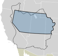 The Utah Territory is shown in blue and outlined in black. The boundaries of the provisional State of Deseret are shown with a dotted line.