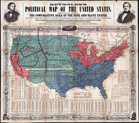 Map of free and slave states c.1856