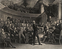 """""""The United States Senate, A.D. 1850"""" (engraving by Peter F. Rothermel): Henry Clay takes the floor of the Old Senate Chamber; Vice President Millard Fillmore presides as John C. Calhoun (to the right of the Speaker's chair) and Daniel Webster (seated to the left of Clay) look on."""