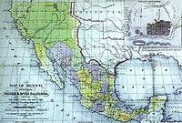Map of Mexico. S. Augustus Mitchell, Philadelphia, 1847. New California is depicted with a northeastern border at the meridian leading north of the Rio Grande headwaters.