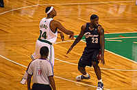 Pierce being defended by LeBron James in October 2008.