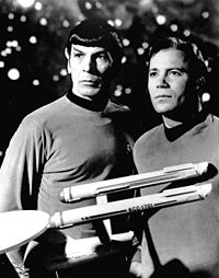 Nimoy as Commander Spock with William Shatner as Captain Kirk, 1968