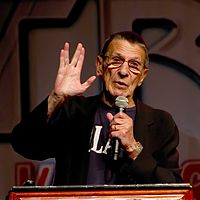 Nimoy giving the Vulcan salute in 2011