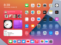 The iPadOS 14 home screen running on the 7th generation iPad.