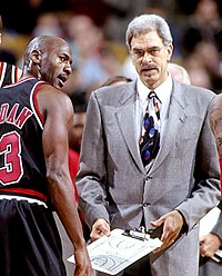 Michael Jordan combined with Scottie Pippen and coach Phil Jackson to win six NBA championships.