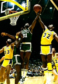 The 1980s saw a renewal in the rivalry between the Boston Celtics (green) and the Los Angeles Lakers (gold), combining to win eight titles.