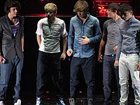One Direction on The X Factor Live tour in 2011