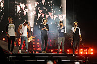 One Direction on stage in Santiago, Chile on 14 April 2014 during their Where We Are Tour