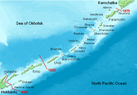 The Kuril Islands with the disputed islands