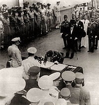 Japanese officials surrendering to the Allies on September 2, 1945, in Tokyo Bay, ending World War II