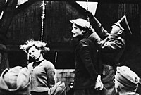 Members of the Soviet resistance in Belarus hanged by the German army on 26 October 1941