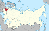 Location of Byelorussia (red) within the Soviet Union
