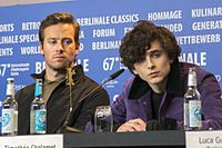 Hammer and Chalamet during the press conference for Call Me by Your Name at the 2017 Berlin International Film Festival