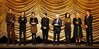 From left to right: Armie Hammer, Timothée Chalamet, Vanda Capriolo, Amira Casar, André Aciman, Esther Garrel, Victoire du Bois, and Peter Spears at the screening of Call Me by Your Name at the 2017 Berlin International Film Festival