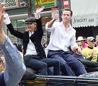 Newsom with then-fiancée Jennifer Siebel at the 2008 San Francisco Pride parade