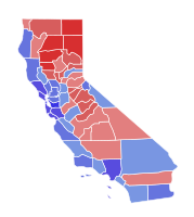 Results of the 2018 California gubernatorial election; Newsom won the counties in blue