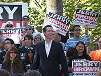 Newsom campaigns for Jerry Brown for governor, October 2010