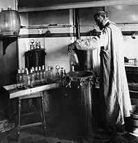 Pasteur experimenting in his laboratory.