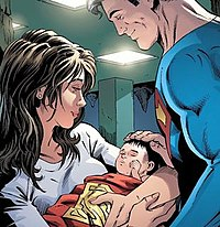 The birth of Lois and Clark's son in Convergence: Superman #2 (July 2015), art by Dan Jurgens.