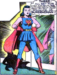 Lois Lane, first appearance as Superwoman in Action Comics #60 (May 1943), art by Joe Shuster.