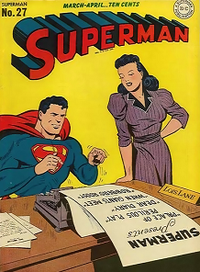 The Golden Age Lois Lane and Superman, from the cover of Superman #27 (March–April 1944), art by Wayne Boring.