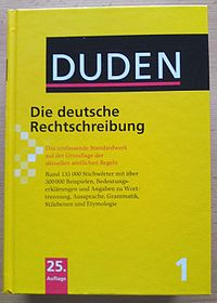 """Volume 1 """"German Orthography"""" of the 25th edition of the Duden dictionary"""