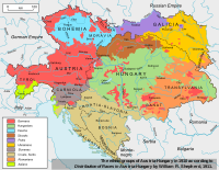 Ethnolinguistic map of Austria-Hungary, 1910, with German-speaking areas shown in red.