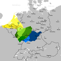 The Franconian dialects (Low Franconian, Central- and Rhine Franconian, and High Franconian)
