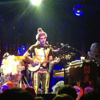 """Sufjan Stevens performing in Providence, Rhode Island, as part of his """"The Sirfjam Stephanapolous Christmas Sing-a-Long Seasonal Affective Disorder Spectacular Music Pageant Variety Show Disaster"""" tour in 2012"""