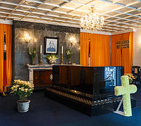 President Chiang Kai-shek's remains lie in a black marble sarcophagus in his former residence.